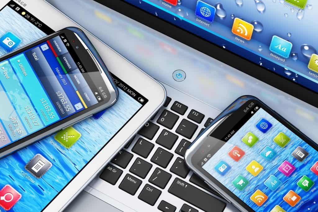 tablet, laptop, cellphone